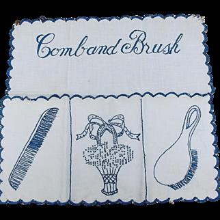 Vintage Embroidered Linen Comb and Brush Holder Ecru Blue