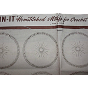 Vintage Linen Join-It Hemstitched Motifs for Crochet Sunburst Table Covers Scarfs Doilies