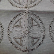 Linen Hemstitched Motifs for Crochet Peach Blossom in Oyster Color Vintage