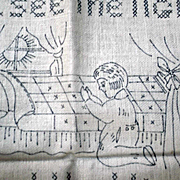 Vintage Betsy Ross Needlework Linen Sampler to Embroider Cross Stitch
