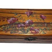 Vintage Oak Wood Glove Box Hand Painted Clover Satin Material Lining