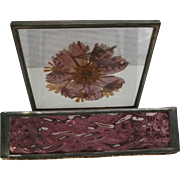 Amethyst Wavy Glass Box Casket Lead Metal Frame Vintage Dried Flowers