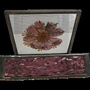 Vintage Wavy Amethyst Glass Box Casket Lead Metal Frame Dried Flowers