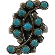 Native American Snake Eye Turquoise Silver Ring Size 7.25