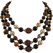 Japanese Chocolate Berry Bead Necklace with three Strands