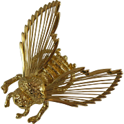 Monet Gold-tone Bumble Bee Brooch with Hallmark