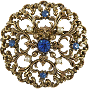 Vintage JJ Jonette Jewelry Brooch with Blue Rhinestones and Hallmark