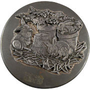 Metzke Pewter Rabbit Trio Tin with Full Patina and Label