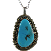 Native American Turquoise Necklace with a Delicate 18-inch Silver Chain