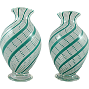 Vintage Murano Glass Vase Pair with Swirling Filigrana