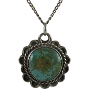 Native American Turquoise Necklace on Fine 18-inch Silver Chain