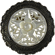 Old Carved MOP Star Brooch or Pendant with Silver