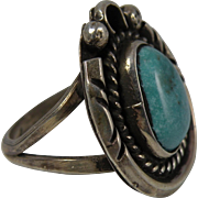 Vintage Navajo Turquoise and Silver Ring Size 5