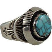 Navajo Silver Turquoise Ring with Wilbert Vandever Hallmark Size 12.5