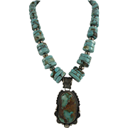 Navajo Turquoise and Silver Necklace with Gene Natan Pendant