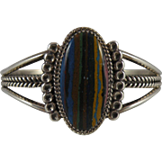 Navajo Rainbow Calsilica Silver Cuff Bracelet with Gilbert Boyd Hallmark