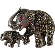 Sterling Silver Marcasite Elephant Brooch Pin