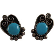 Navajo Sterling Silver Turquoise Earrings with Hallmark