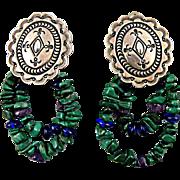 Navajo Silver Concho Clip Earrings with Delbert Delgarito Hallmark