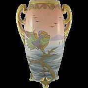 Royal Nishiki Nippon Bird Vase 12-inch Porcelain