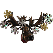 Bronze Christmas Moose Brooch with Snowflakes