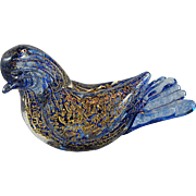 Murano Glass Blue Bird with Aventurine
