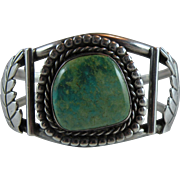 Vintage Navajo Green Turquoise Cuff Bracelet Sterling Silver