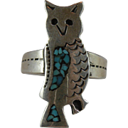 Vintage Sterling Silver Owl Ring with Turquoise Chip Inlay Size 8.5
