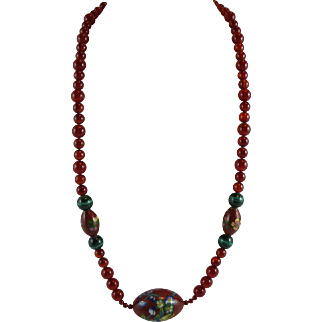 Red Carnelian Cloisonne 28-inch Necklace