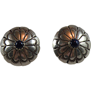 Southwestern Sterling Silver Lapis Concho Pierced Earrings