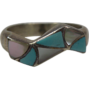 Zuni Channel Inlay Ring with Kallestewa Hallmark Size 6.75