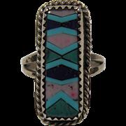 Vintage Native American Mosaic Inlay Ring Size 5.75