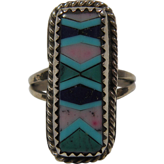 Vintage Native American Mosaic Inlay Ring Size 5.75