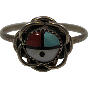 Silver Inlay Ring with Small Zuni Sun Face Size 8