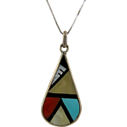 Zuni Kallestewa Mosaic Inlay Pendant Necklace SUE Hallmark