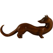 Carved Wood Weasel Signed Ronald Allison