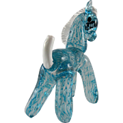 Barovier Murano Blue Horse with White Mane