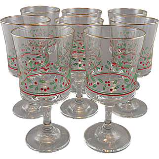 Christmas Holly Berry Goblet Set made by Libbey for Arby's 1986