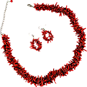 Red Branch Coral Necklace with 3 Strands and Earrings