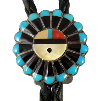 Zuni Sun Face Bolo Tie with Jet and Turquoise Rays 1970s