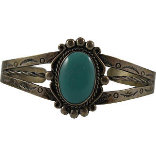 Native American Sterling Cuff Bracelet with Bell Trading Hallmark