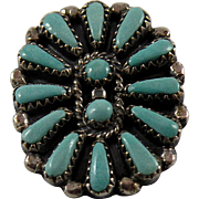 Native American Petit Point Turquoise Pin or Pendant