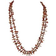 Santo Domingo Kewa Coral and Heishi Necklace