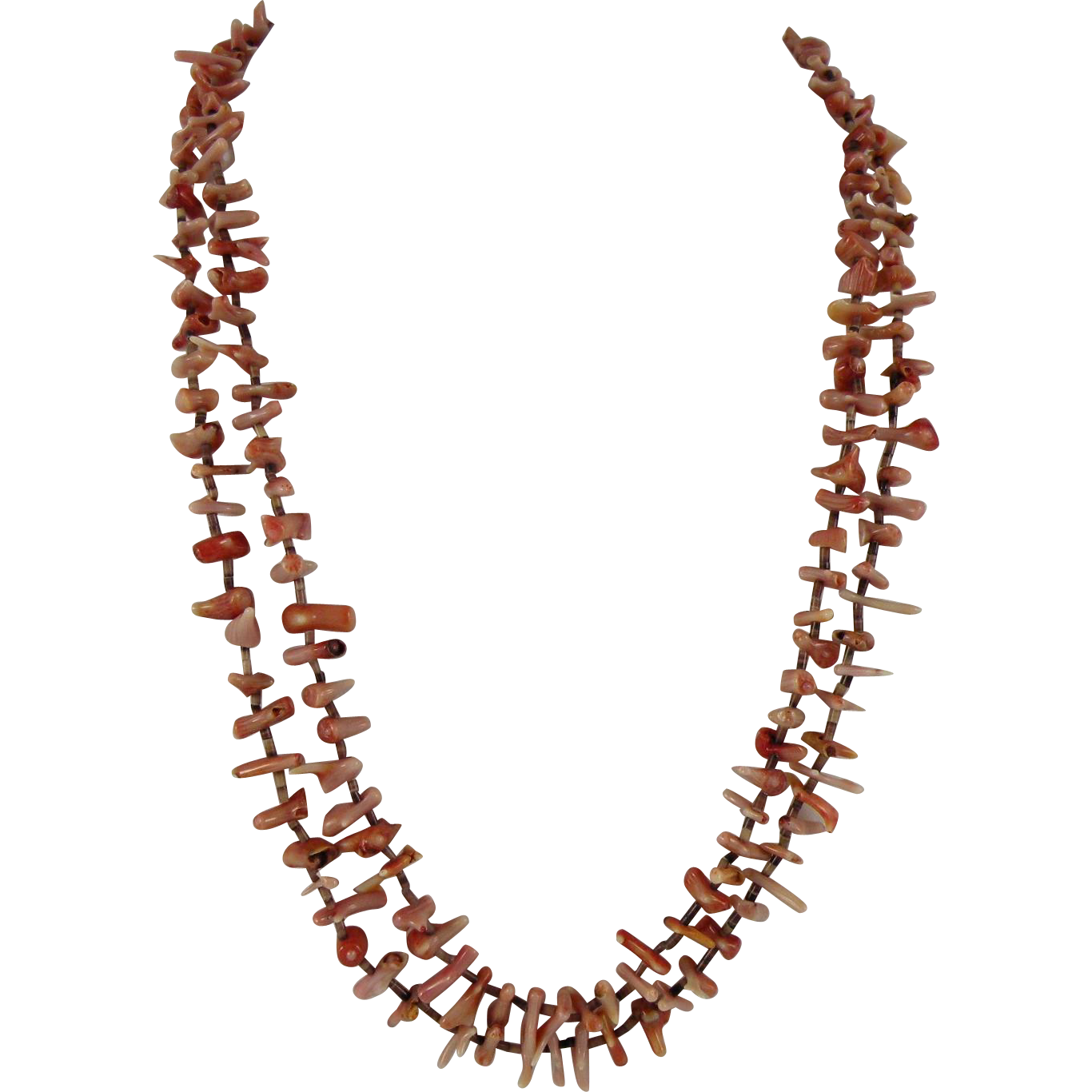 Santo Domingo Kewa Coral and Heishi Necklace