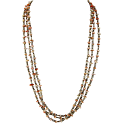 Native American Salmon Shell and Heishi Necklace