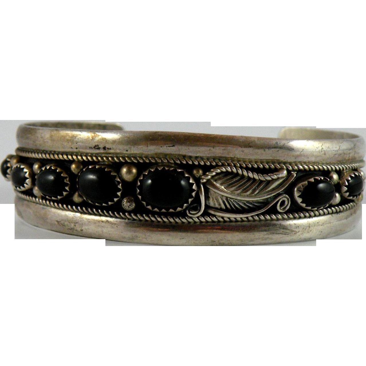 Ella Cowboy Navajo Silver Cuff Bracelet with Onyx
