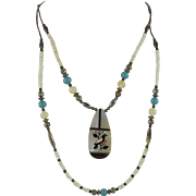 Santo Domingo Kewa Bird Inlay Pendant Necklace with Silver Heishi