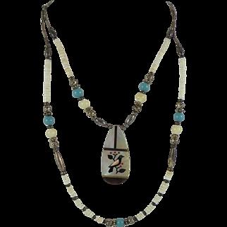 Santo Domingo Kewa Bird Inlay Pendant Necklace with Silver Heishi