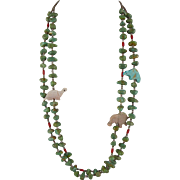 Native American Turquoise and Heishi Necklace with Fetishes