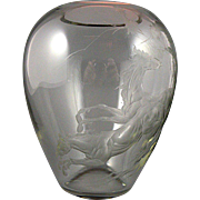 Vintage Intaglio Engraved Horses Glass Vase